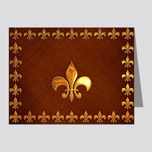 Old Leather with gold Fleur-de-Lys Note Cards